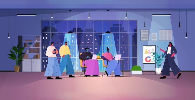 Overworked businesspeople team making financial presentation on digital board during conference meeting in dark night office horizontal full length vector illustration