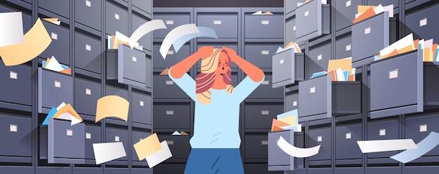 Overworked businesswoman searching documents in filing wall cabinet with open drawers data archive storage business administration paper work concept horizontal portrait vector illustration