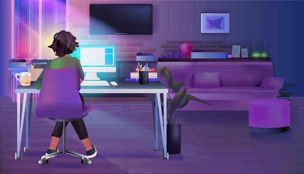 仕事場に座っている過労実業家ビジネスウーマンフリーランサー暗い夜のリビングルームでコンピューター画面を見て水平全長ベクトル図