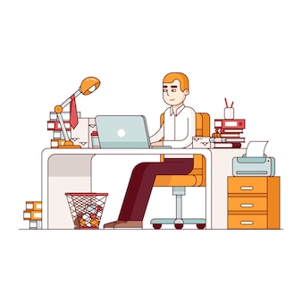 Overworked employee doing lots of paperwork