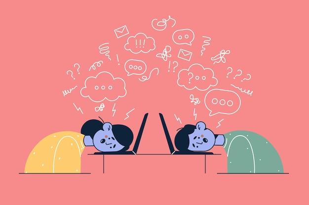 過労の疲れ果てたサラリーマンの女性と男性がノートパソコンに横たわって疲れを感じ、職場で燃え尽きて頭の中で考えているイラスト