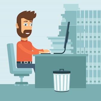 Overworked man in his office Premium Vector