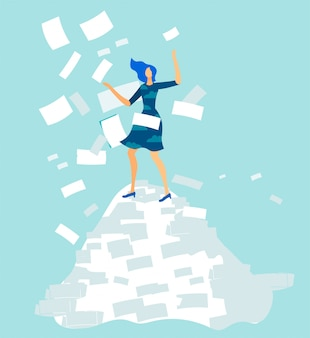 Overworked woman office worker on document pile