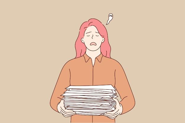 過労うつ病の締め切りメンタルストレスビジネスコンセプト