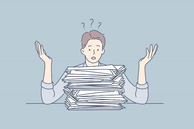 Overworking, depression, deadline, mental stress, business concept