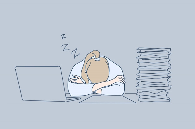 과로, 수면, 사무실, 피로, 스트레스, 비즈니스 개념