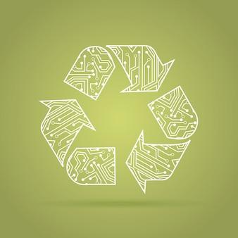 リサイクル回路ovre緑の背景ベクトルイラスト