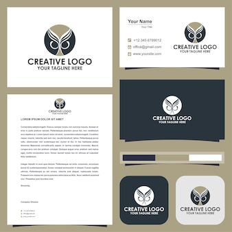 Owl abstact logo premium and business card