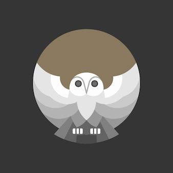 フクロウの抽象的なモノリンのロゴ