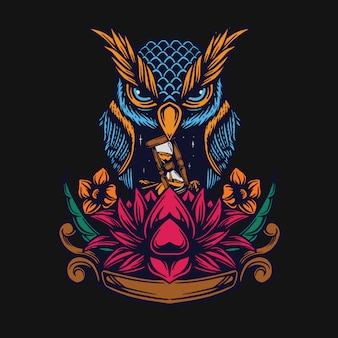 フクロウと蓮のtシャツデザイン