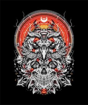 フクロウと頭蓋骨のイラスト。 tシャツ商品に最適