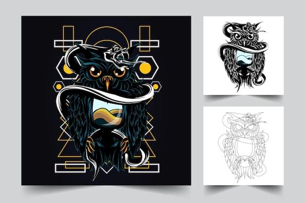 フクロウとヘビのアートワークイラスト