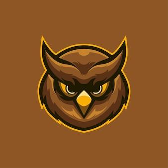 フクロウ動物の頭の漫画のロゴのテンプレートイラスト。 eスポーツロゴゲームプレミアムベクター