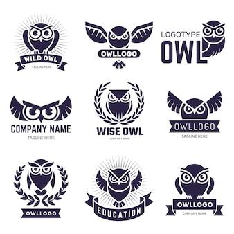 올빼미 배지. 깃털 야생 동물 엠블럼이나 로고 벡터 컬렉션이 있는 날아다니는 새. 그림 올빼미 새 레이블, 실루엣 동물 비행 로고