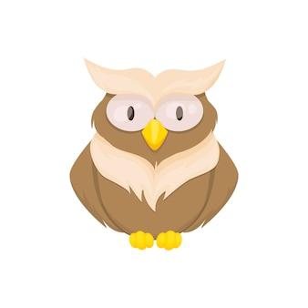 올빼미 새 동물 벡터 문자 야생 유치 또는 아기 재미 포레스트 동물 그림. 직물, 포장, 직물 벽지, 의류를 위한 창의적인 어린이 올빼미 새.