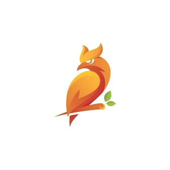 Owl bird and lead tree branch logo