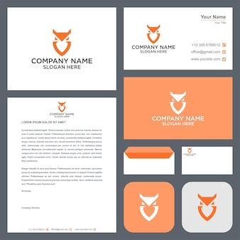 Сова птица логотип с визитной карточкой