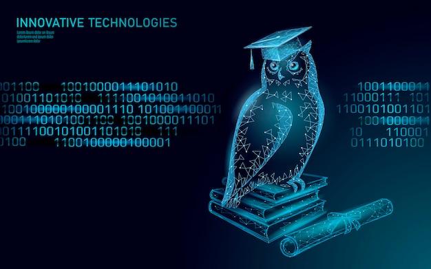 Сова птица символ мудрого образования. концепция дистанционного электронного обучения.