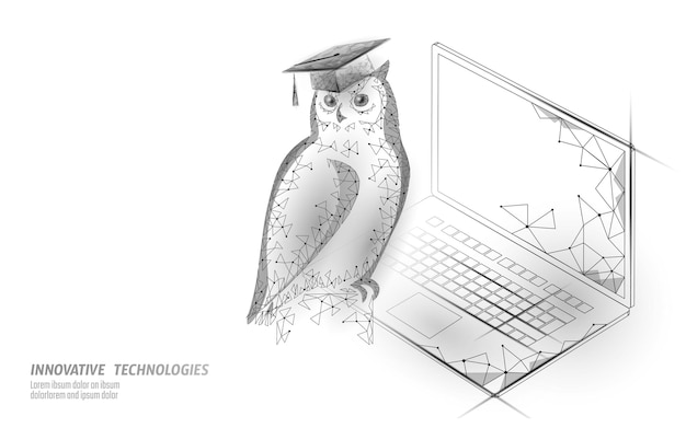 Owl bird symbol of wise education. e-learning distance concept.