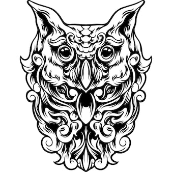 Owl bird with full ornament silhouette
