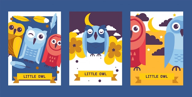 Owl birthday cards vector illustration. cute cartoon wise birds with wings of different color for invitations and celebration party.