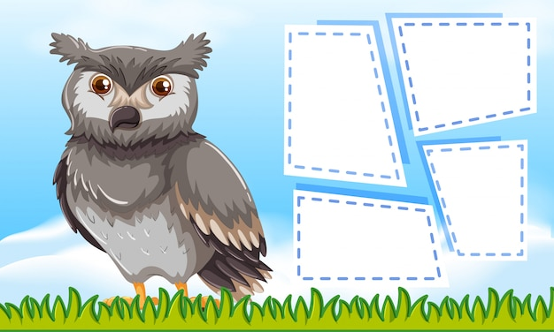 Owl on blank note frames