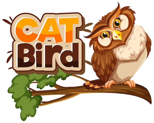 Owl on branch cartoon character with cat bird font banner isolated Free Vector