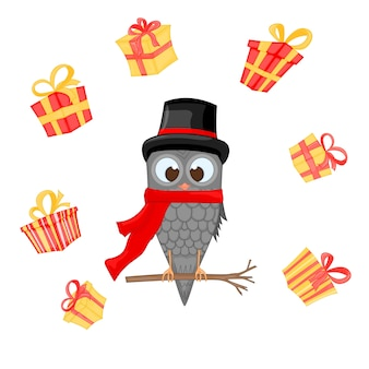 Owl on the branch in the santa claus