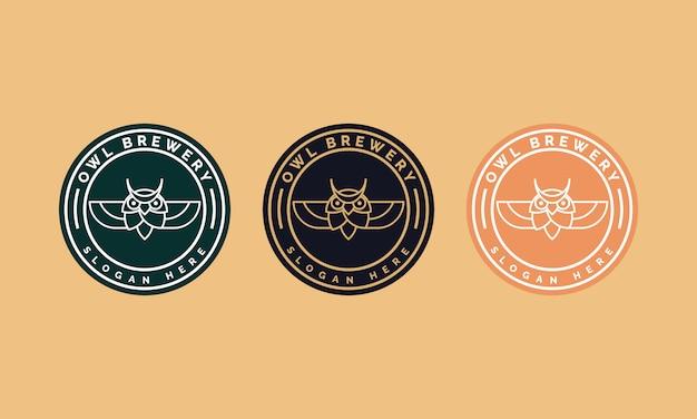 バッジ、エンブレム、アイコンのフクロウとラインアートコンセプトスタイルのイラストを組み合わせたフクロウの醸造所のロゴデザイン