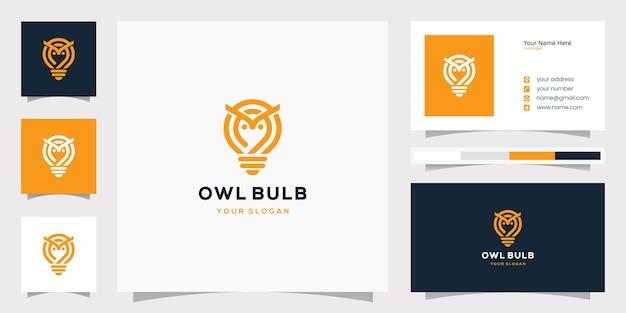 Owl bulb lamp idea creative logo