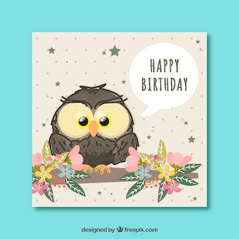 Owl card with floral decoration