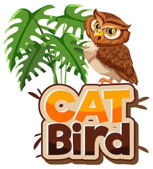 Owl cartoon character with cat bird font banner isolated