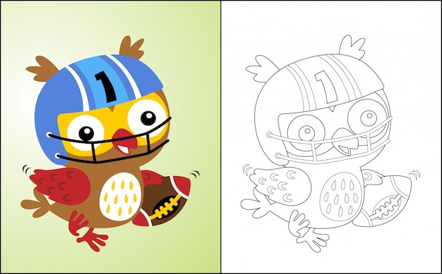 Owl cartoon the funny rugby player