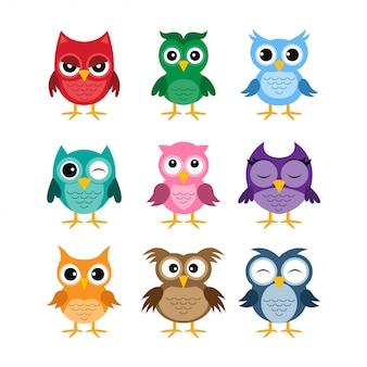 Owl cartoon vector collection