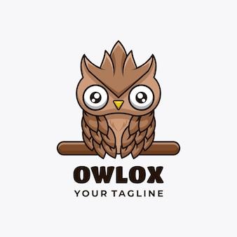 Owl character mascot logo design vector illustration