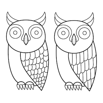 Owl coloring fashion vector collection. cute vector illustration. fashion background art.