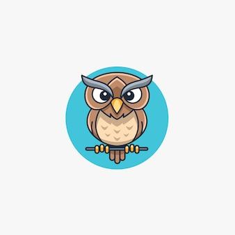 Owl cute cartoon mascot.