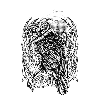 Owl darkness ilustration black and white