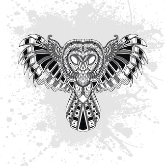 Owl decorated with abstract shapes