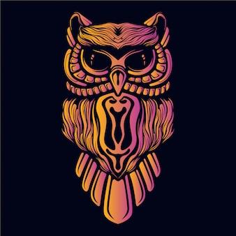 Owl decorative face retro neon color artwork illustration