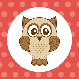Owl design over  dotted background vector illustration