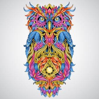 Owl detail ornament artwork for tattoo and full colour tribal element vector