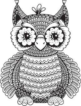 Owl doodle illustration for coloring book
