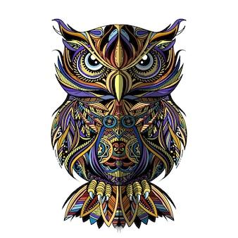Сова нарисована в стиле zentangle