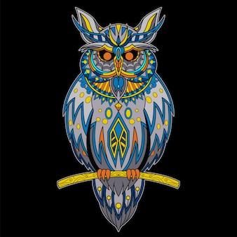 Zentangleスタイルで描かれたフクロウ