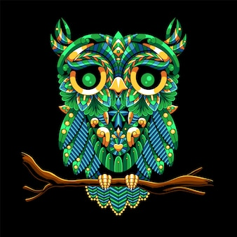 Owl drawn in zentangle style