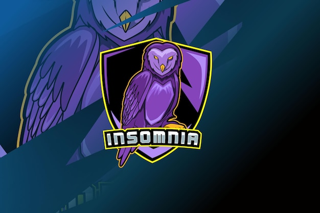 Шаблон логотипа команды киберспорта сова