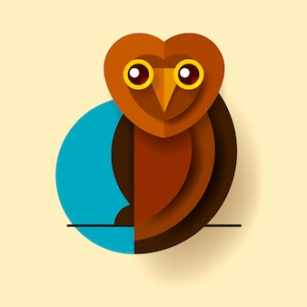 Owl or eagle-owl bird vector isolated icon