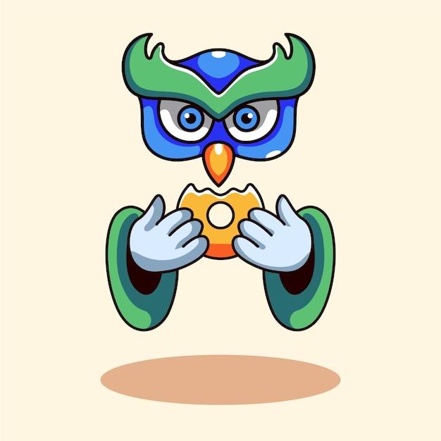 モダンなスタイルのドーナツキャラクターを食べるフクロウ