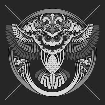 Owl emblem with silver color